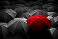 Red umbrella stand out from the crowd. Different, leader. Royalty Free Stock Photo