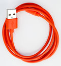 Red usb cable isolated on white background smile human face Stock Images