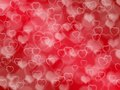 Red valentine background with boke and hearts Stock Photography