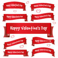 Red valentine day curved ribbon banners