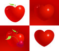 Red valentine heart set vector illustration. Symbol of love, life, health and friendship.
