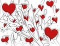 Red Valentine Hearts Pen Doodles Royalty Free Stock Photos