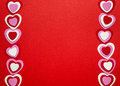 Red valentines day background with hearts border of romantic pink and white for on crimson Royalty Free Stock Image