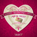 Red valentines day greeting card with heart and fl flower wishes text vector illustration Stock Photography