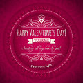 Red valentines day greeting card with heart flo flower and wishes text vector illustration Royalty Free Stock Photo