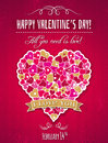 Red valentines day greeting card with heart and wishes text vector illustration Stock Images