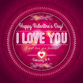 Red valentines day greeting card with hearts and wishes text vector illustration Royalty Free Stock Photo