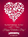 Red valentines day greeting card with white hear heart and wishes text vector illustration Stock Images