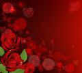 Red valentines day roses background with heart shaped bubbles and Royalty Free Stock Photo