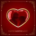 Red Valentines heart with couple Royalty Free Stock Photo