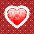 Red valentines heart with floral pattern Stock Photos