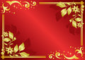 Red vector card with golden decorations Stock Photos