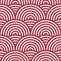 Red vector endless pattern created with thin undulate stripes