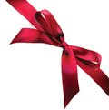 Red vector gift bow and ribbon corner with tied knot illustration Stock Images