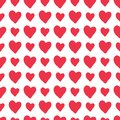 Red vector hand-drawn hearts seamless pattern