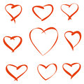 Red vector hearts nine on a white background for your design Stock Images