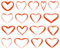Red vector hearts seventeen on a white background for your design Stock Image