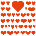 Red vector hearts thirty eight on a white background for your design Royalty Free Stock Image