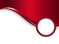 Red vector metal background with wave and round frame for your text