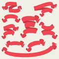 Red vector ribbons set - Vector illustration Royalty Free Stock Photo