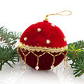 Red velvet christmas ball Stock Image