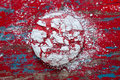 Red velvet crinkle cookies top view of a christmas cookie covered in powdered sugar on a vintage painted table Stock Image
