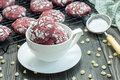 Red velvet crinkle cookies with white chocolate chips Royalty Free Stock Photo