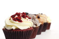 Red Velvet Cupcake In A Row Stock Images