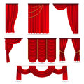 Red velvet stage curtains, scarlet theatre drapery isolated on white vector set Royalty Free Stock Photo