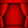 Red velvet vector theater illustration of a stage with curtains Stock Photos