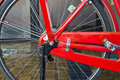 Red vintage bicycle wheel close up Royalty Free Stock Images
