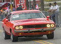 Red vintage car on parade santo domingo dominican republic march dodge challenger parading in the cars display during the public Royalty Free Stock Photo