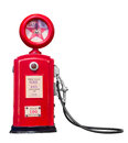 Red vintage gasoline pump on white background with clipping path Stock Image