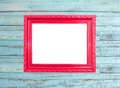 Red Vintage picture frame on blue wood background Stock Images