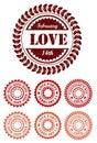 Red vintage stamps for Valentine day