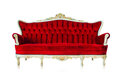 Red vintage style sofa on white background Royalty Free Stock Image