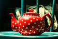 Red vintage teapot Royalty Free Stock Images