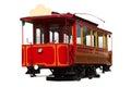 Red vintage tram on white background xix century Stock Photos