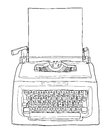 Red vintage typewriter with paper cute line art painting  illust Royalty Free Stock Photo