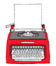 Red vintage typewriter with paper cute painting illustratio