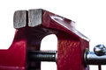 Red vise tool for temporarily fixing various parts Royalty Free Stock Photography