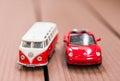 Red Volkswagen Beetle and Van Royalty Free Stock Photo