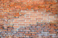Red wall of brick done in three time periods which can be seen to the mortar between the bricks and also to the very bricks vary Royalty Free Stock Image