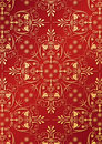 Red wallpaper with golden relief Royalty Free Stock Photography
