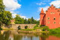 Red water chateau cervena lhota in southern bohemia czech republic Stock Image