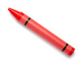 Red Wax Crayon on White Royalty Free Stock Photo