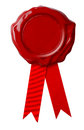 Certificate Red wax seal or signet with ribbon isolated Royalty Free Stock Photo