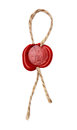 Red wax seal with rope Royalty Free Stock Photo