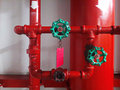 Red way wyes fire fighting couplings for safety system of tall buildings and industrial facilities Royalty Free Stock Photography