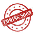 Red Weathered Coming Soon Stamp Circles and Stars Royalty Free Stock Photo